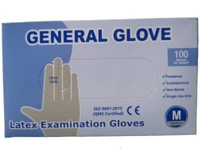 SET 100 x LATEX kesztyű a kézvédelemhez, fehér – L