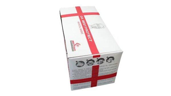 Sebészeti arcmaszk, IIR típusú olvadékfúvott szűrő, CE jelölés, 98% -os szűrés, 3 réteg, 3 redő (50 darabos maszk)
