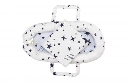 Baby Nest Somnart: babakosár + matrac 42x84x2 cm + babatakaró 70×70 cm csillagmintás