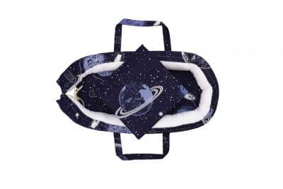 Baby Nest Somnart: babakosár + matrac 42x84x2 cm + babatakaró 70×70 cm-es kozmosz modell