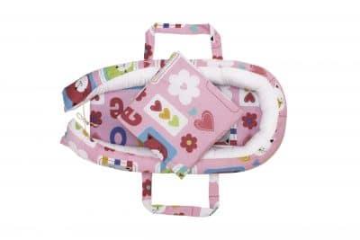 Baby Nest Somnart: babakosár + matrac 42x84x2 cm + babatakaró 70×70 cm virágmintás